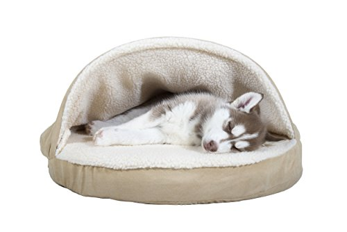 FurHaven Pet Dog Bed | Orthopedic Round Faux Sheepskin Snuggery Burrow Pet Bed for Dogs & Cats, Cream, 26-Inch
