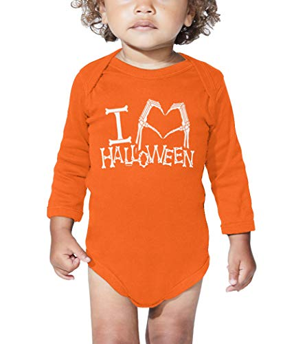 I Heart Halloween - Skeleton Hands Long Sleeve Bodysuit (Orange, 6 Months) ()