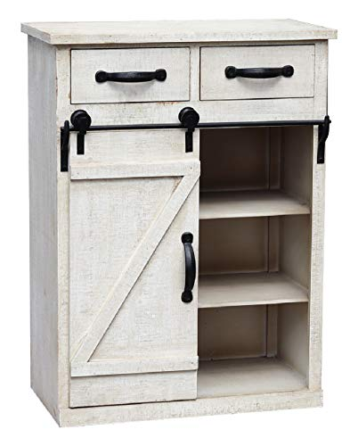 Distressed White Sliding Barn Door Accent Wood Storage Cabinet, Farmhouse Style Wood End Table with 2 Drawers and 1…