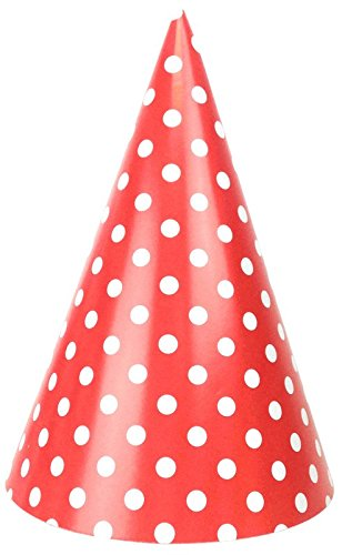 Just Artifacts Childrens Party Cone Hats 12pcs Polka Dot Red -