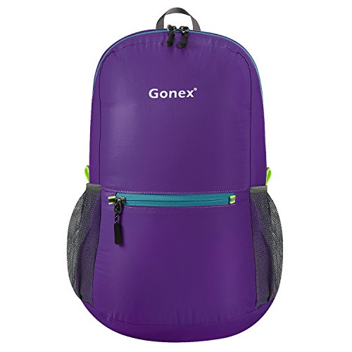 Gonex Ultra Lightweight Packable Backpack Hiking Daypack Handy Foldable Camping Outdoor Travel Cycling Backpacking(Purple) (Bike Travel Suitcase)