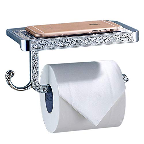 ThinkTop Antique Carving Toilet Roll Paper Holder with Phone Shelf Wall Mounted Bathroom Paper Rack And Hook-Silver by ThinkTop