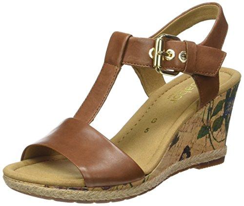 Gabor Shoes Comfort, Sandalias con Cuña para Mujer Marrón (peanutKorkFl/Jute)