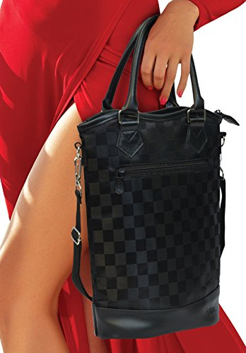 Vina Deluxe 2 Bottle Wine Purse Tote Bag Black Checkers - Thermal Insulated Wine/Champagne Travel Carrier Cooler Bag Stylish Great for Taking Wine to Restaurants, Picnics, the Beach or any Occasion - Target Travel Bag