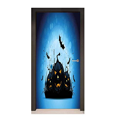 Halloween 3D Door Decal Scary Pumpkins in Grass with Bats Full Moon Traditional Composition for Home Room Decoration Black Yellow Sky Blue,W17.1xH78.7]()