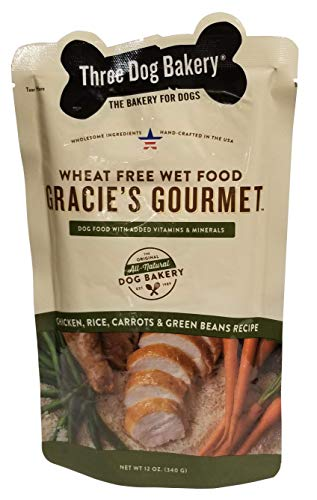 Three Dog Bakery Gracie'S Gourmet Entrée For Dogs, Chicken Carrots Green Beans & Rice Recipe, 14/Pack