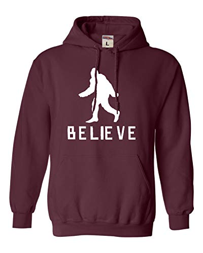 Go All Out Large Maroon Adult Bigfoot Believe Sasquatch Squatch Sweatshirt Hoodie