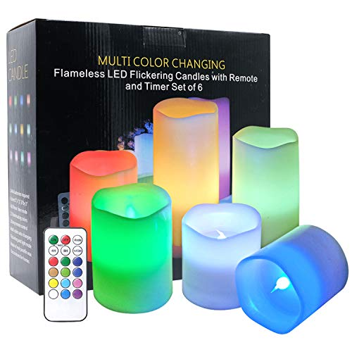 DRomance Color Changing Candles with Remote Set of 6 Battery Operated LED Lights, Real Wax Flameless Candles for Romantic Parties Decoration Mood Light ()