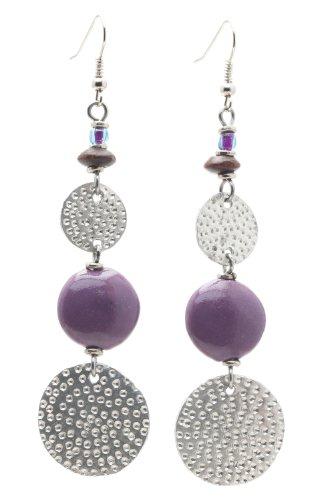 Maisha Beautiful African Fair Trade Trendy Hand Hammered Silver Color, Mauve Purple Ceramic Earrings