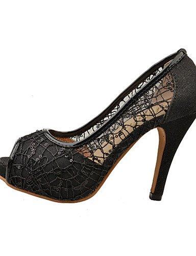 tac¨®n us8 Uk6 tacones Golden Cn39 Oro Cn38 Zapatos negro 5 Eu39 Black Stiletto Uk5 De Mujer Eu38 encaje Zq us7 tacones casual 5 1HPtqX