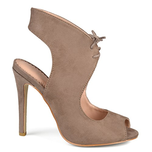 toe Taupe Brinley Co High Heels Strap Suede Womens Ankle Open Faux Lace up rq0B7wqgx