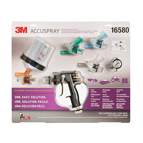 3M Accuspray Paint Spray Gun System with Original PPS, 16580, Standard, 22 Ounces, Use for Cars, Furniture, Cabinets and More,1 Paint Gun,1 Paint Cup, 1 Collar, 5 Disposable Lids and Liners, 4 Nozzles (Best Hvlp Spray Gun For Furniture)