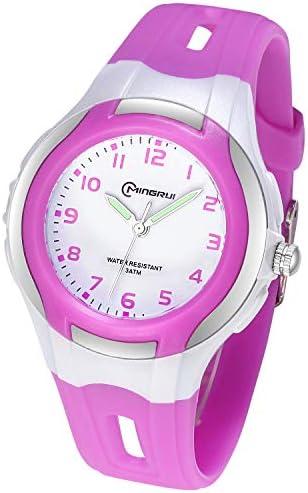 子供用アナログ腕時計 女の子 男の子 子供 防水 学習時間腕時計 読みやすい時間表示 子供へのプレゼントに パープル