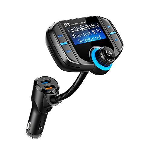 Bluetooth Hands Free Car Stereo FM Transmitter for iPhone X 8 7+ 6S Plus 5S Radio Transmitter and Charger with Mic for Samsung Galaxy S8 S7 Note 8 Google Pixel 2XL LG Stylo 3+ Nexus 6p 5X Android