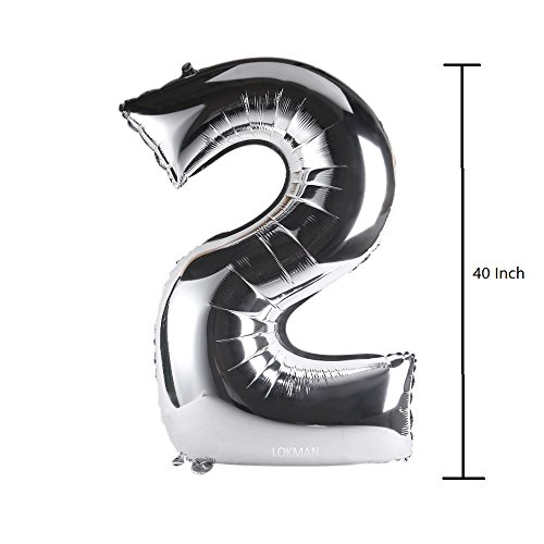 Lokman 40'' Glossy Silver Number 2 Aluminum Foil Helium Balloon for Birthday Party, Anniversary Party Decoration (Number: 2, Silver)
