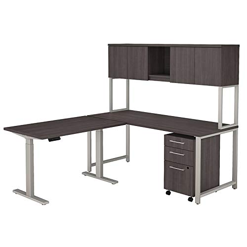 Bush Business Furniture 400 Series 72W L Shaped Desk with Height Adjustable Return, Hutch and Storage in Storm Gray