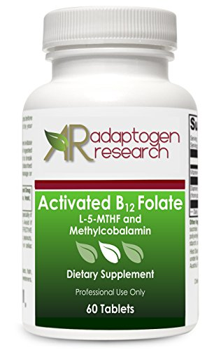 Activated B12 Folate 60 lozenges · High Potency L-5-MTHF and Methylcobalamin · by Adaptogen Research Pharmaceutical Grade Supplements