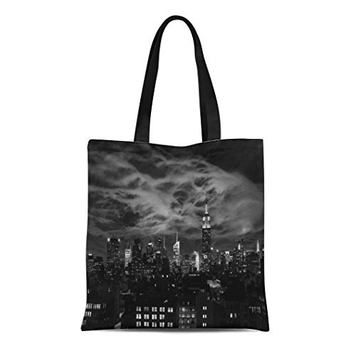 Semtomn Cotton Line Canvas Tote Bag Building Ethereal Clouds Nyc Skyline Empire State Bld Bw Reusable Handbag Shoulder Grocery Shopping Bags