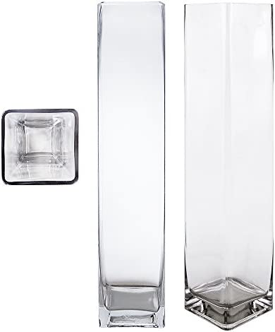 Mega Vases Square Cube 4 Inch x 20 Inch, Decorative Clear Glass Vase with Sturdy Base, Wedding Centerpieces, Flower Bouquets, Home Decor, Celebrations, Parties, Event Planning, Arts Crafts