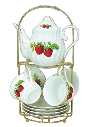 (Green Pastures Wholesale Strawberry Porcelain Narrow Shape Tea Set, 7-Inch by 5-Inch)
