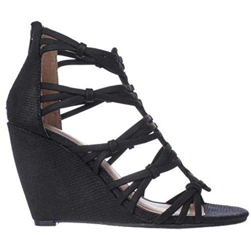 MIA Dylon Women's Sandals & Flip Flops Black Vintage Lizard Size 9 (Mia Wedge Shoes)