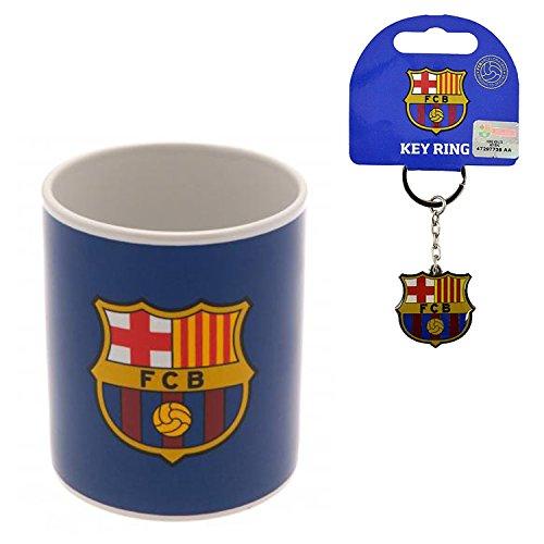 FC BARCELONA CERAMIC MUG (11oz) & TEAM CREST METAL KEYCHAIN OFFICIALLY LICENSED SHIPS FROM - Chain Fc Barcelona