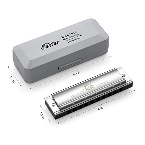 Eastar Captain Blues Diatonic Harmonica 10 Holes C Key Beginner Harmonica for Kids and Adults with Hard Case and Cloth