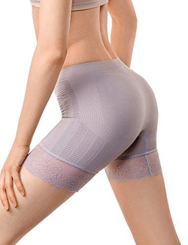 MD Women's Shapewear Inner Thigh Waist Slimmer Power Shorts Body Shaper Large Light (Just Enough Hi Waist Brief)