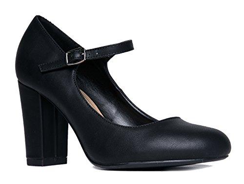 Mary Jane High Heel - Cute Round Toe Block Heel - Classic Comfortable Easy Dress Shoe - Skippy by J Adams, Black Pu, 8 B(M) US