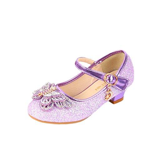 HBOS Kinder Mädchen Schuhe mit Absatz Prinzessin Schuhe Schmetterling Knoten Lila