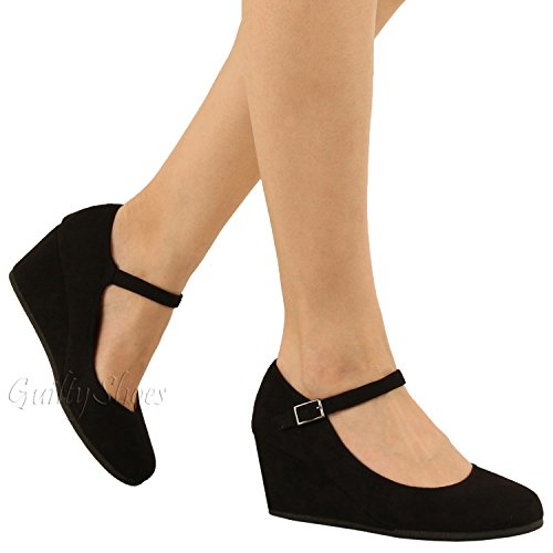 Guilty Shoes - Womens Classic Mary Jane - Comfort Round Toe Buckle Low Heel Wedge Pumps-Shoes, Black Suede, 7.5