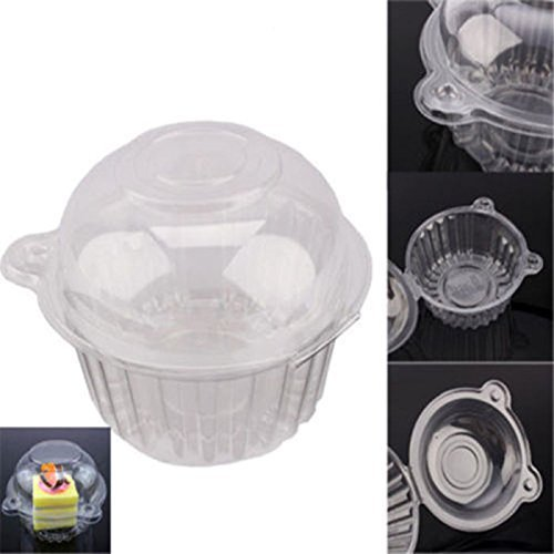100pcs Cake Boxes-Clear Plastic Single Cup Cake Boxes Holder Muffin Case Patty Container Cupcake Car Cake Take Out Containers