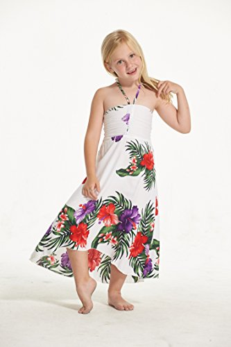 Amazon.com: Aloha Fashion Girl Hawaiian Butterfly Dress in White with Floral: Clothing