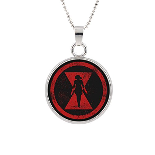 Black Widow Pendant Necklace Marvel Comics Movies Cartoon Superhero Logo Theme Scarlett Johansson Premium Quality Detailed Cosplay Jewelry Gift Series -