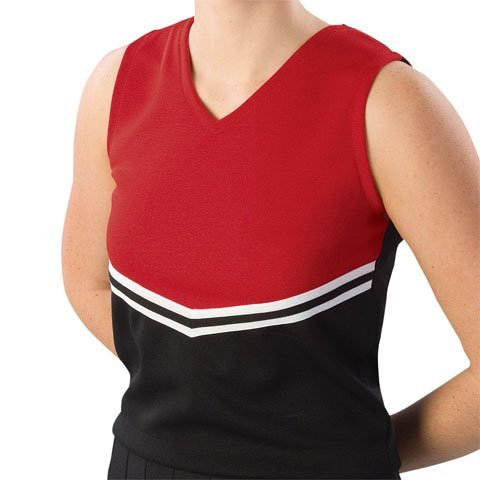 Pizzazz Performance Wear UT40 -BLKRED-YL UT40 Youth V-Stripe Uniform Shell - Black with Red - Youth Large