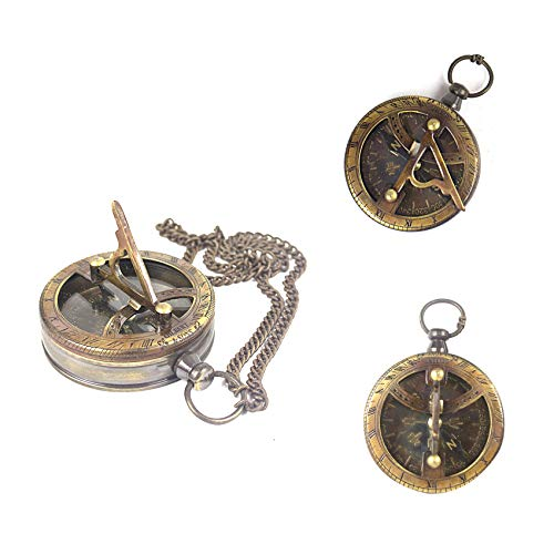 (Collectibles Buy Nautical Gilbert Chain Compass Sundial Pattern Brass Navigational Instrument Unique father & mother gift movie prop)