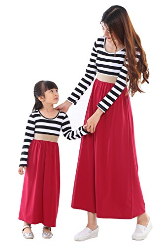 Wennikids Cotton Material Mommy and Me Chevron Maxi Dress Burgundy-Red Women Small (My Mom Made Me Dress Like A Girl)