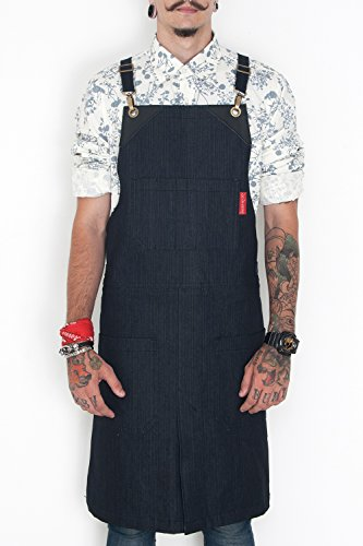 Apron Five Foot (Under NY Sky Cross-Back Black Apron – Durable Denim, Leather Reinforcement, Comfort Stretch, Split-Leg – Adjustable for Men and Women – Pro Chef, Tattoo, Pottery, Barista, Bartender, Server Aprons)