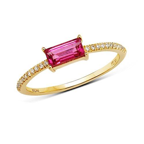 White Gold Pink Tourmaline Ring (0.37 Carat Genuine Pink Tourmaline & White Diamond 14K Yellow Gold Ring)