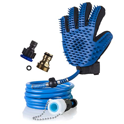 Homebound Pet Products - Dog Shower Sprayer Bath Glove – Full Clean in 5 Minutes, Gentle Silica Gel and Nylon Calms and Comforts Anxious Pets - Softer Than a Pet ()