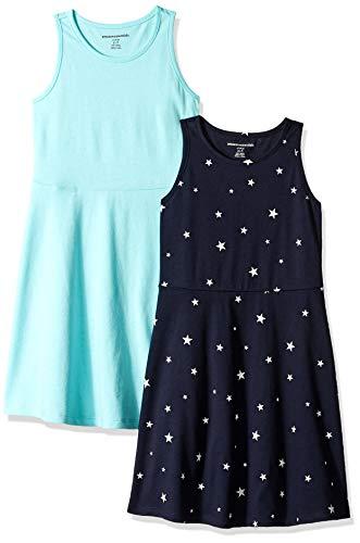 Dress Aqua Kids - Amazon Essentials Little Girls' 2-Pack Tank Dress, Star/Aqua, Small