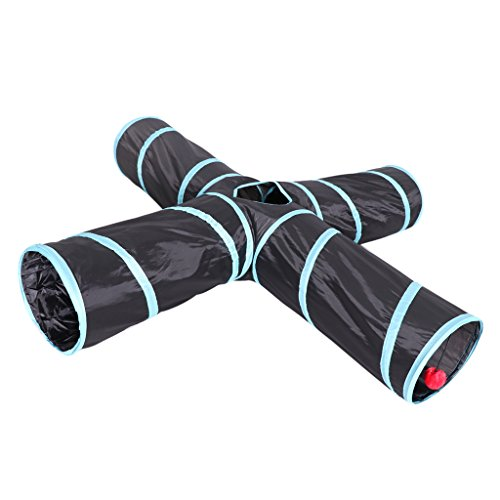D DOLITY New Cat tunnel Design, Collapsible 4-way Cat Dog Tunnel Toy with Crinkle, Pet Puppy Entertainment Game Room Relaxing Hiding Place by D DOLITY