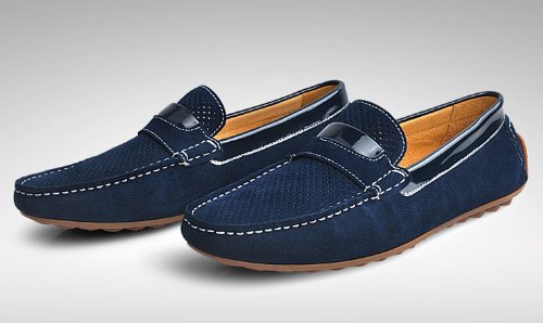 Happyshop (tm) Mens Äkta Läder Ventilation Mockasin Loafers Driver Skor Slip-on Penny Loafers Mörkblå
