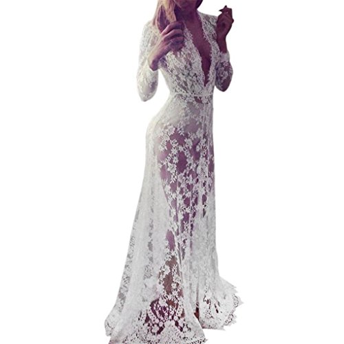 haoricu Women Dress, 2017 Women Sexy Lace Chiffon Crochet Bikini Cover Up Swimwear Beach Dress (L, White) -