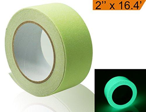 Muzata Anti-Slip Safety Tape, Luminance Glow in the Dark Stripe Tape, Green, 2 Inch Wide and 16.4 Feet Long Roll