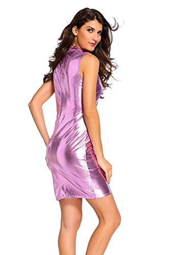 Nuevas señoras rosa metálico cremallera frente Mini vestido Club vestido Casual vestido de fiesta de verano tamaño m UK 10–�?2EU 38–�?0