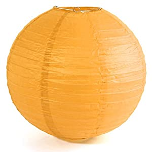 """Paper Lantern - SODIAL(R)1 x Chinese Japanese Paper Lantern Lampshade for Party Wedding, 40cm(16"""") Deep Yellow"""