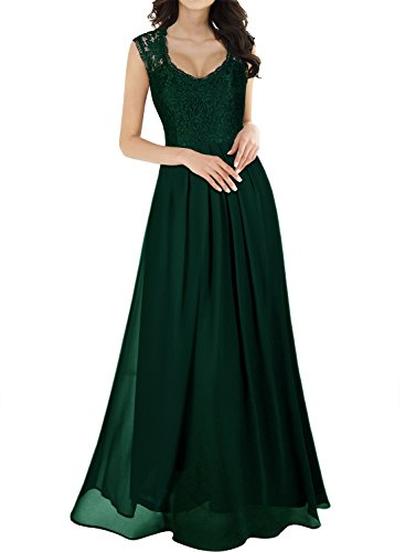Miusol Women's Casual Deep- V Neck Sleeveless Vintage Maxi Dress (Large, Green)