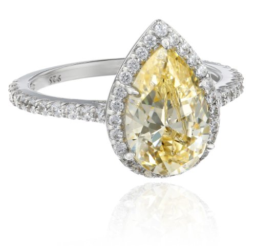 Myia Passiello Platinum-Plated Silver and Pear-Cut Yellow Swarovski Zirconia Cocktail Ring