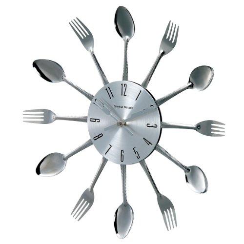 Retro Mod Metal Wall Clock (Telechron Spoon Fork Clock, Silver)